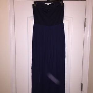 Dresses - Navy maxi with slit and chiffon overlay